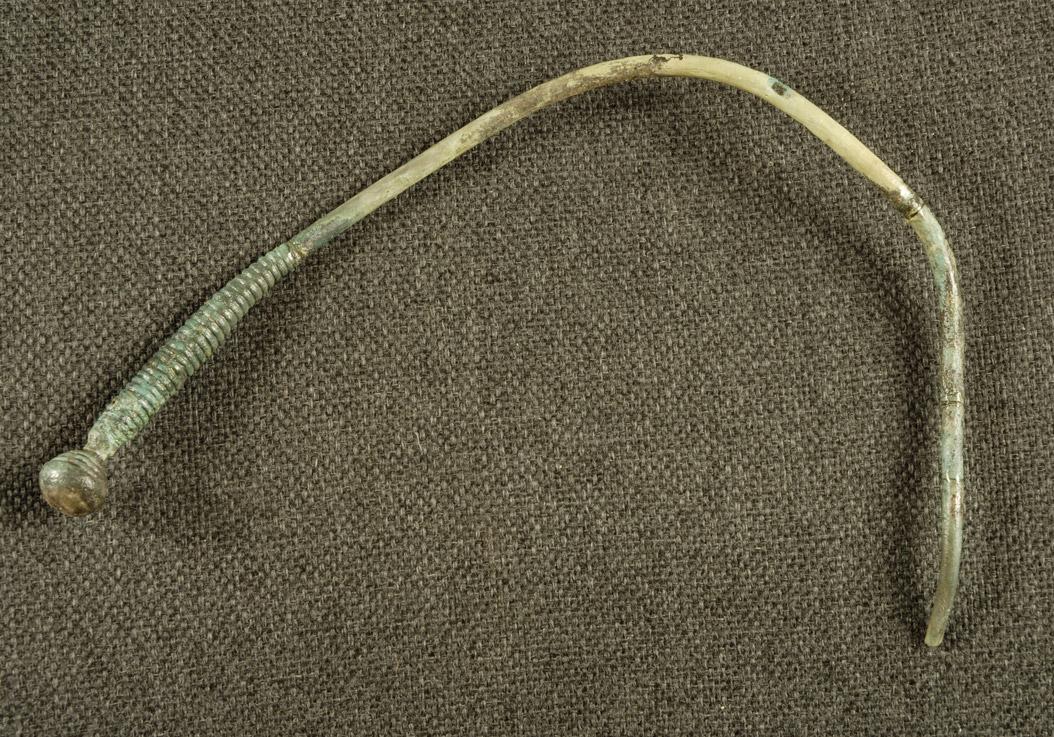 Spätbronzezeitliche Nadel mit geschwollenem und geripptem Hals (Grabhügel 4)